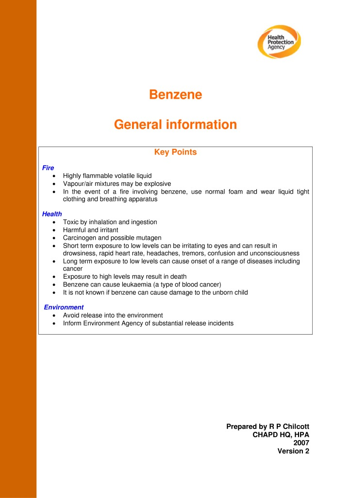 thumbnail of Benzene General Information